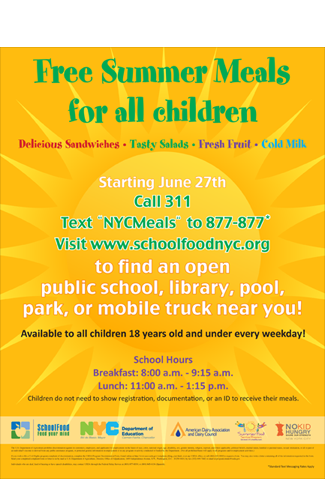 2014 Free summer Meals for all children